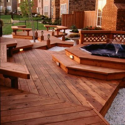 I Want A Deck Like This When We Build A House Redwood Decking Backyard Spaces House In The Woods
