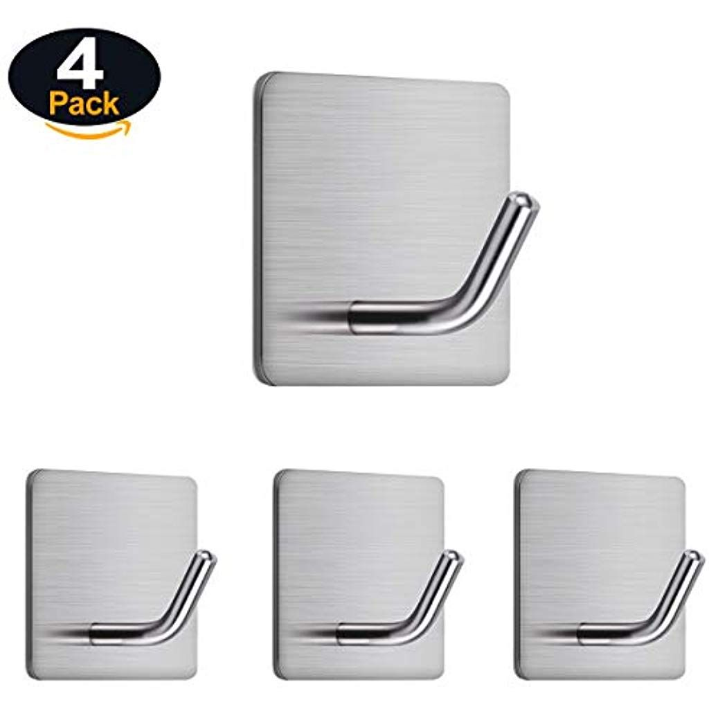 Heatigo Self Adhesive Hooks Wall Hooks Bath Towel Coat Hooks Stainless Steel Hooks For Bathrooms Kitchens Closets 4 Packs Wall Hooks Closet Kitchen Bath Towels