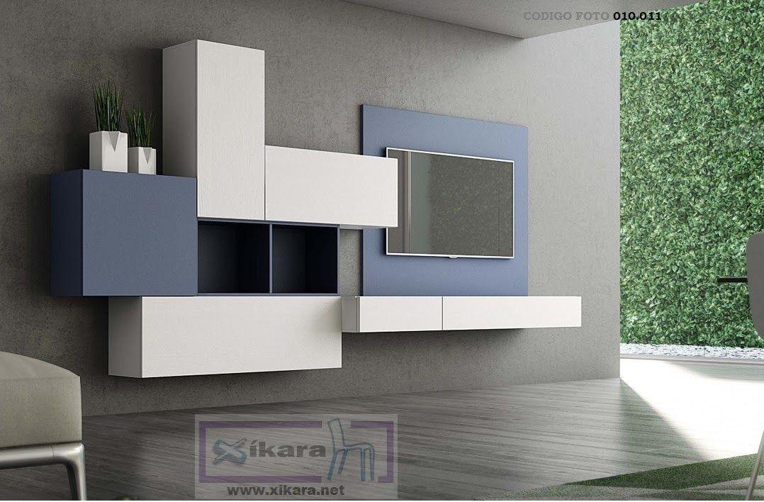 Mueble colgado de salon blanco muebles de sal n de for Muebles tv colgados