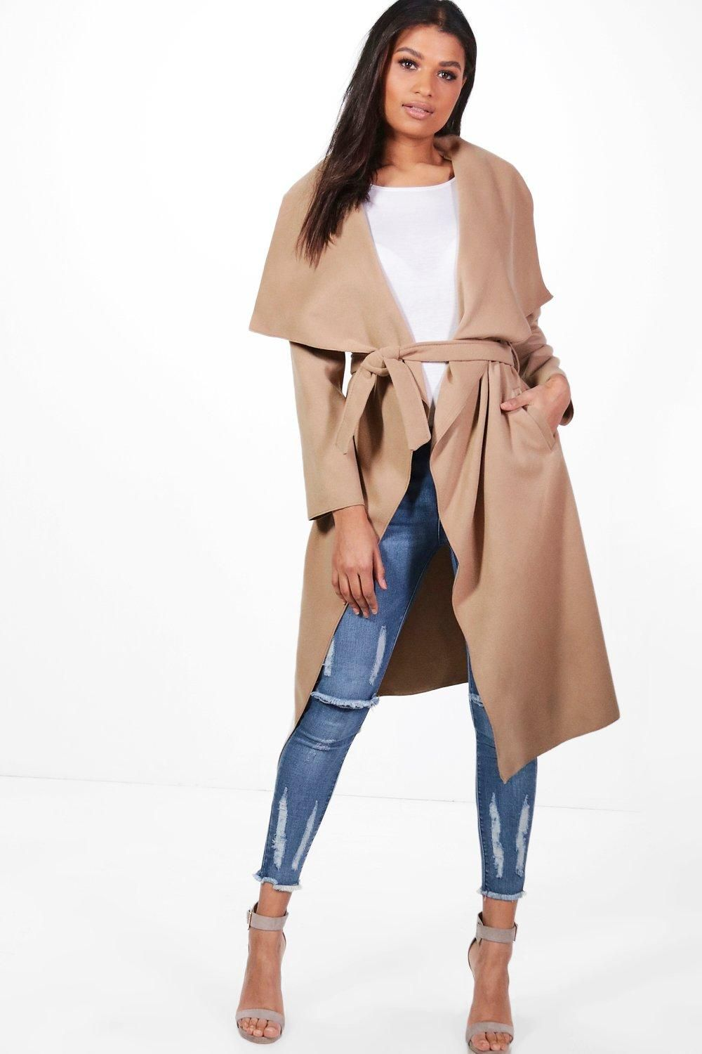 Belted Waterfall Coat | boohoo | Waterfall coat, Coats for