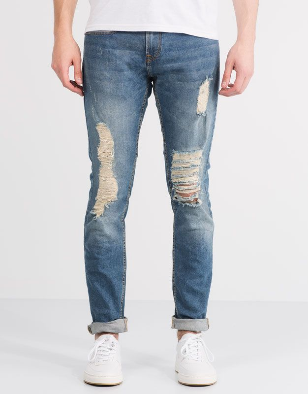 3d1ed345c5b4 Pull&Bear - hombre - jeans - jeans slim fit con rotos - azul -  05683553-V2016