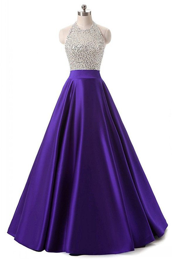 High Quality Purple Satin Beaded Long Prom Dresses Evening Gowns ...