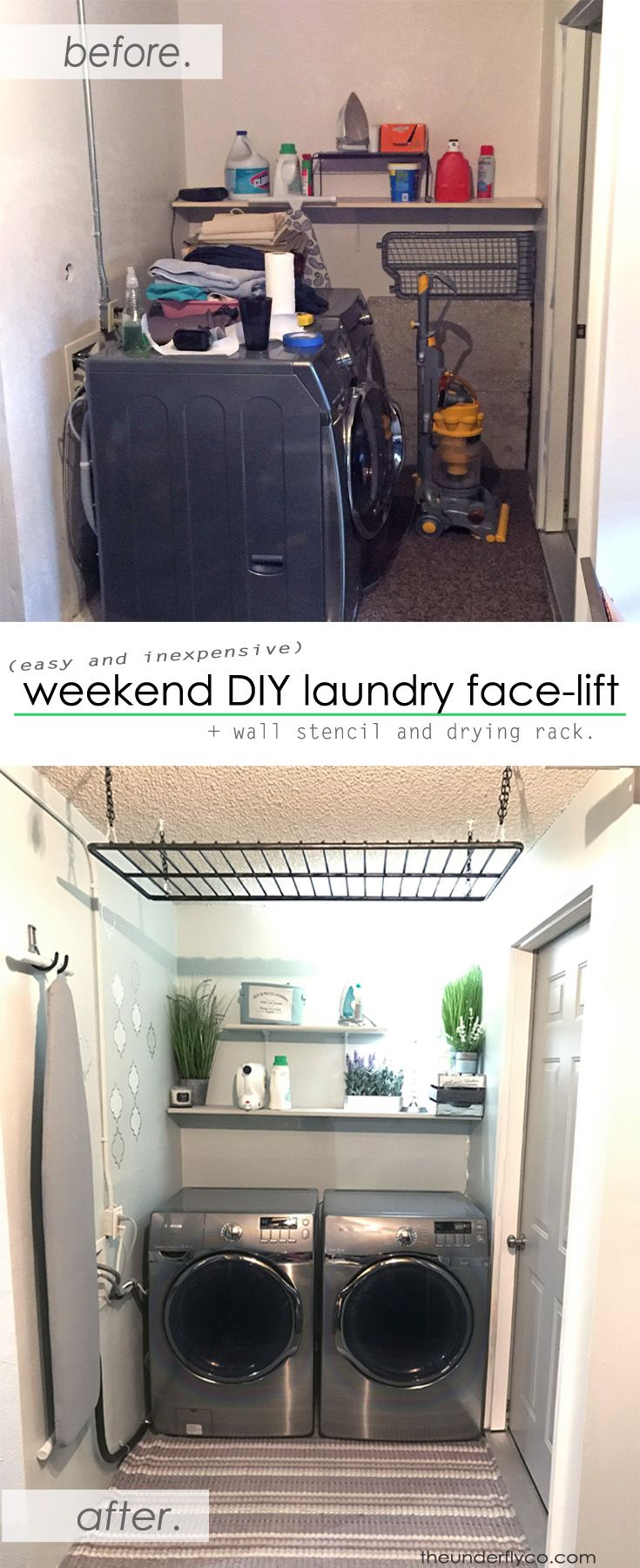 Sprucing up a gloomy dark garage laundry space using very little