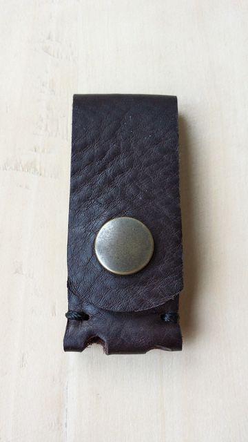 Portebadge En Cuir Brun Badges - Porte badge cuir