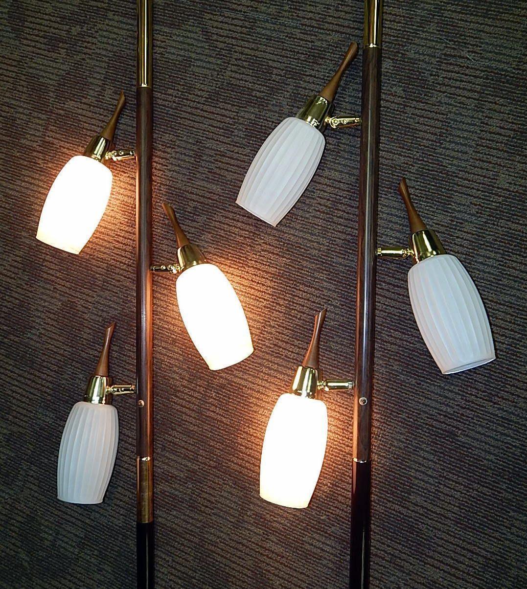 two mid century spring tension pole floor lamp light retro mcm modern ebay electrical wiring [ 1077 x 1204 Pixel ]