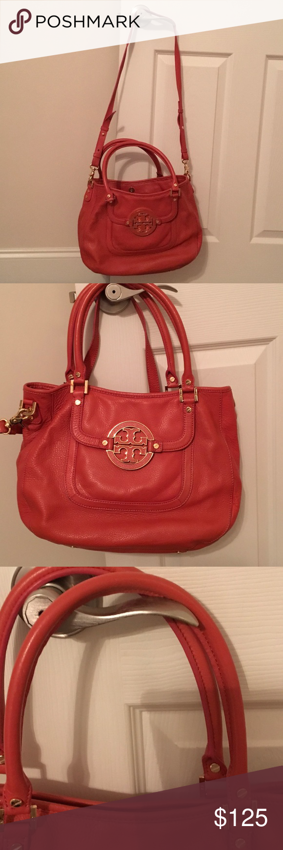 Tory Burch Orange leather Purse Tory Burch Leather Orange Purse with dust cover.  Excellent shape.  14 inches wide/10 inches long. With handles hangs 18 inches/with shoulder strap hangs 32 (shoulder strap is adjustable). Tory Burch Bags Shoulder Bags
