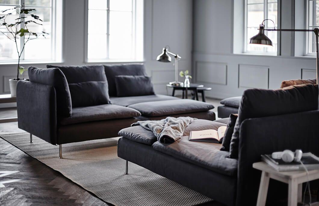 Ikea Soderhamn Bank : SÖderhamn hoekbank zits samsta donkergrijs funky chic