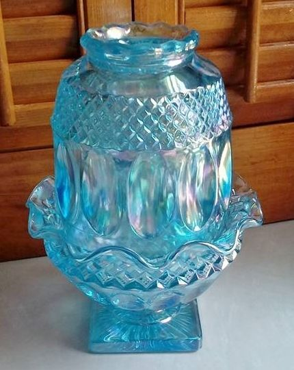 Westmoreland Fairy Lamp Iridescent Blue Vintage Glass ...