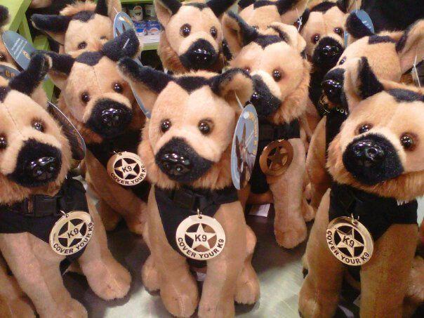 Toy Plush German Shepherd Police Dog With K9 Badge Police K 9