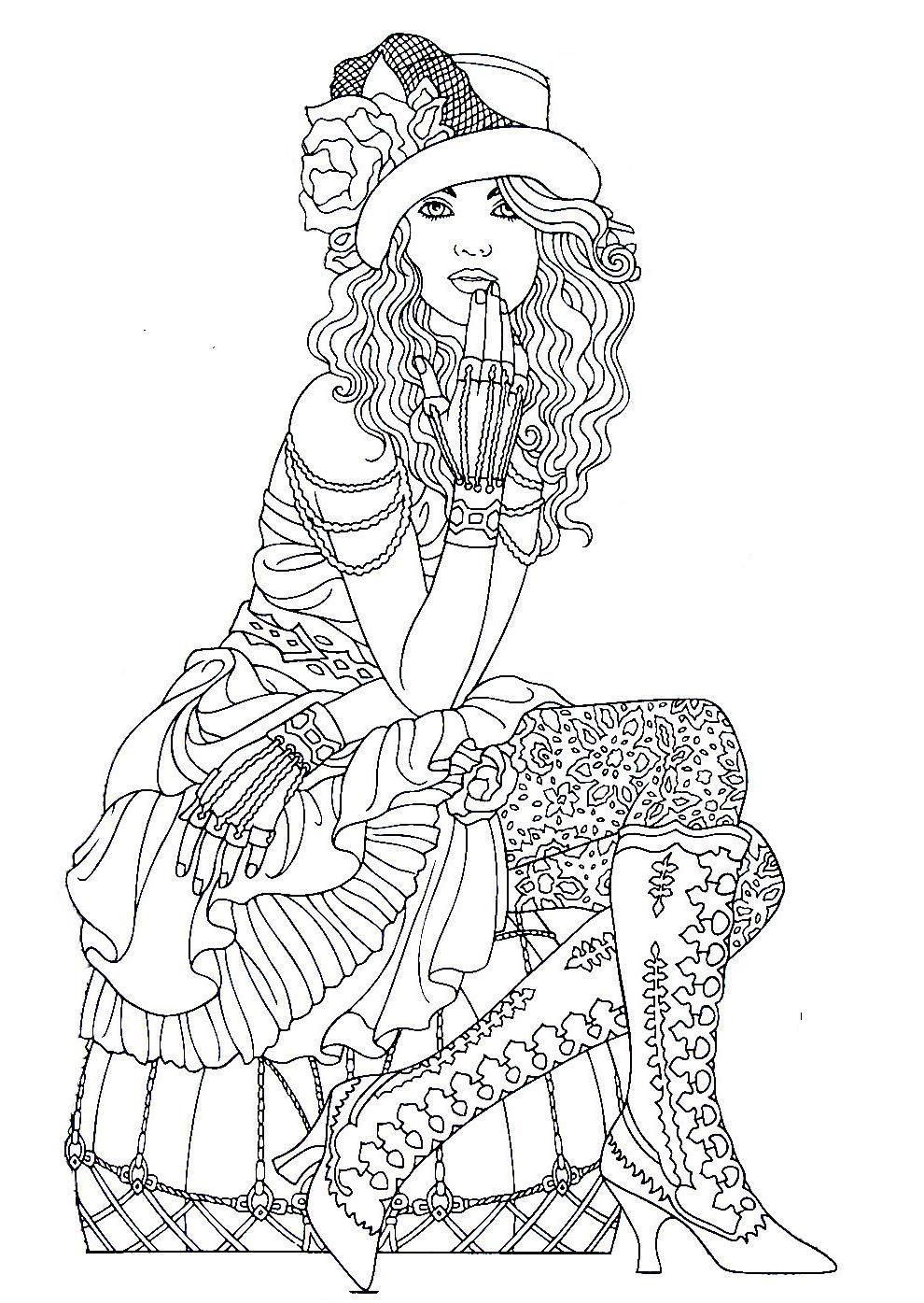 Steampunk Printable Coloring Book Page