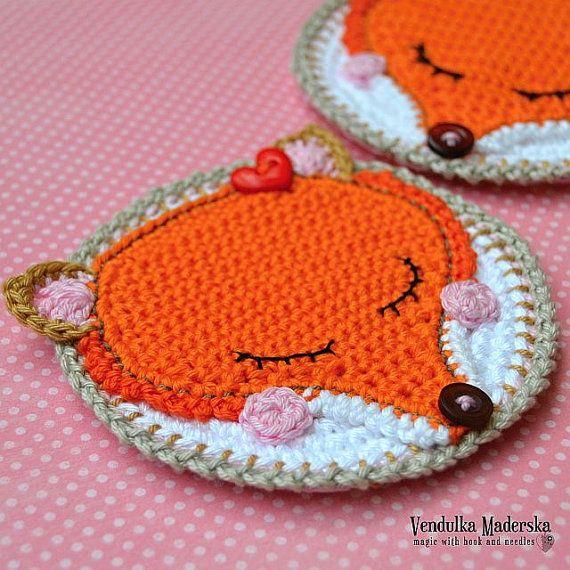 Crochet pattern - fox coaster / autumn decoration / kitchen table ...