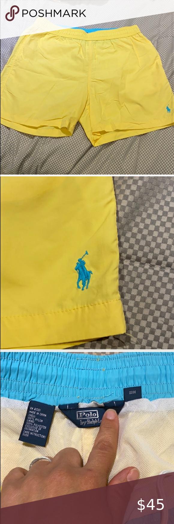 Ralph Lauren mens yellow bathing suit size Large