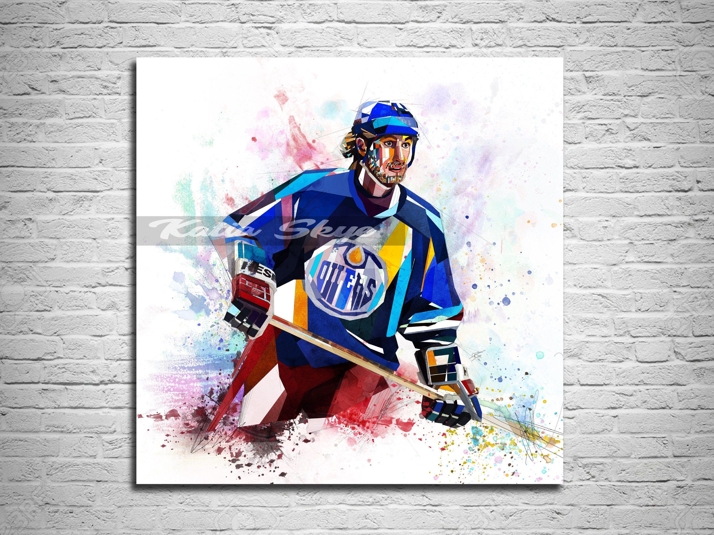 Canvas Print Hockey Art Hockey Gift Sports Fan Poster Wayne Etsy In 2020 Canvas Prints Sports Prints Canvas