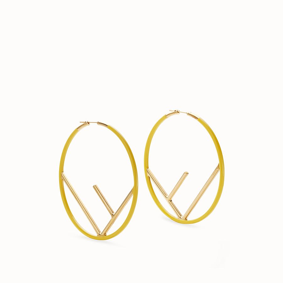 5d5371b70848 FENDI F IS FENDI EARRINGS - Gold and yellow coloured earrings - view 1  detail  590