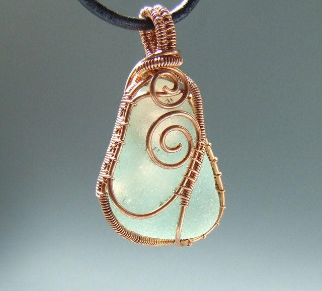 wire wrapped recycled glass pendant. Mint Sea Glass Necklace Green Beach Copper Pendant Recycled Rh Pinterest Ca Wire Wrapped Seashell