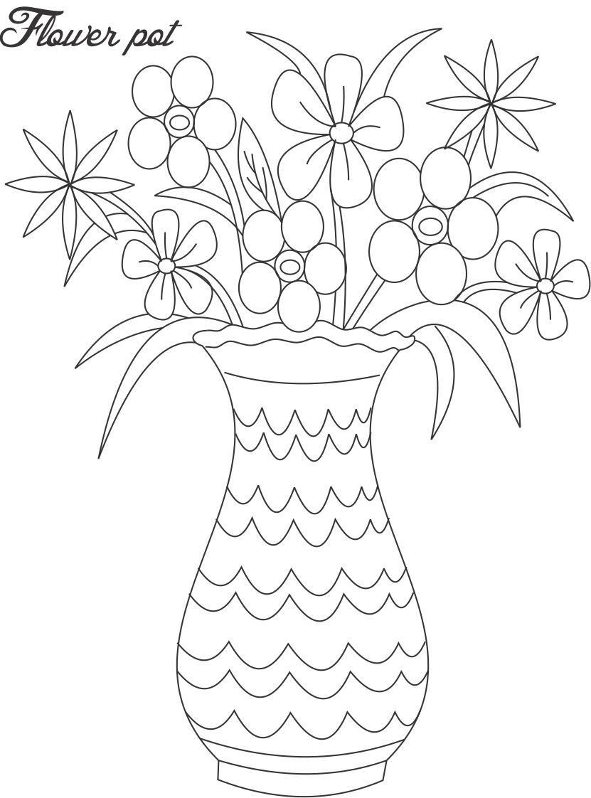 Line Drawings Of Flowers In Vases Google Search Flower Drawing Flower Vase Drawing Flower Coloring Pages