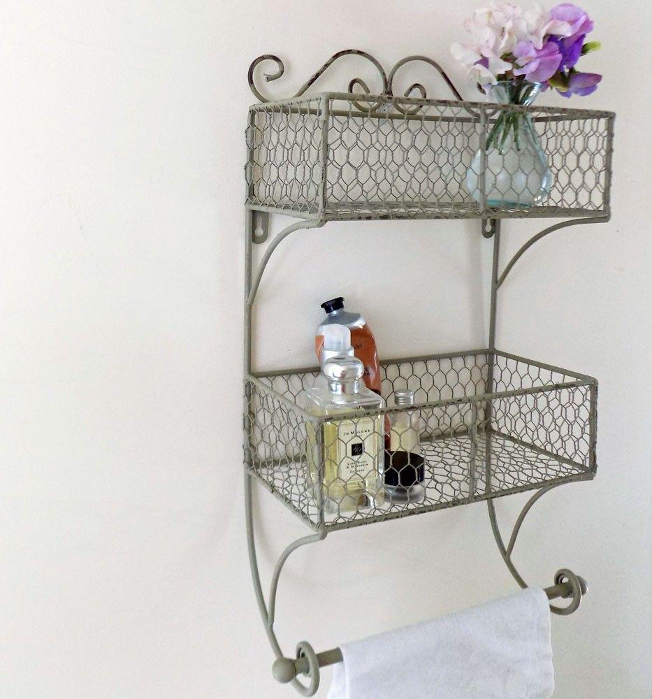 Twin Bathroom Wire Rack With Towel Rail