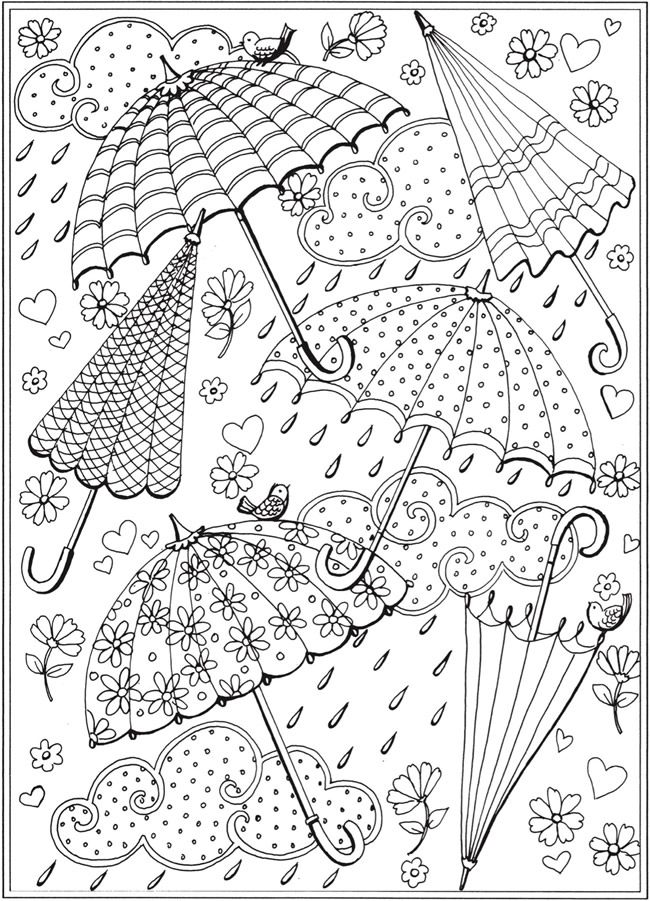Hook It Umbrella Coloring Page Spring Coloring Sheets Spring Coloring Pages