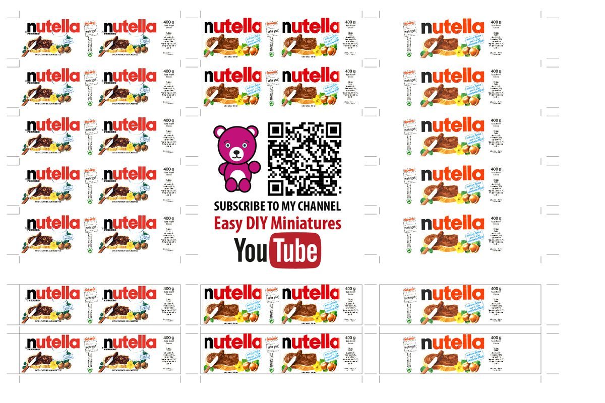 It's just an image of Exceptional Mini Nutella Label Template