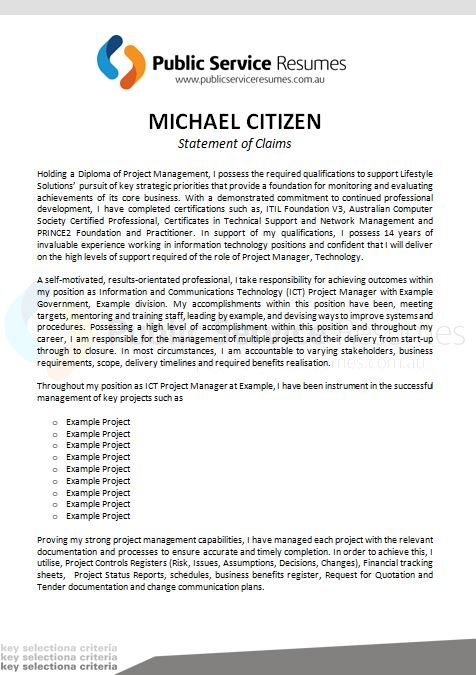 Public Service Resumes Statement Of Claims Example 2 Cover Letter Example Letter Addressing Statement