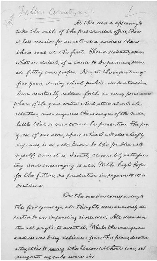 Re Read President Abraham Lincoln S Second Inaugural Addres 1865 And See The Original A Pdf At Essay Starter About On In 200 Word Lincoln' Hindi