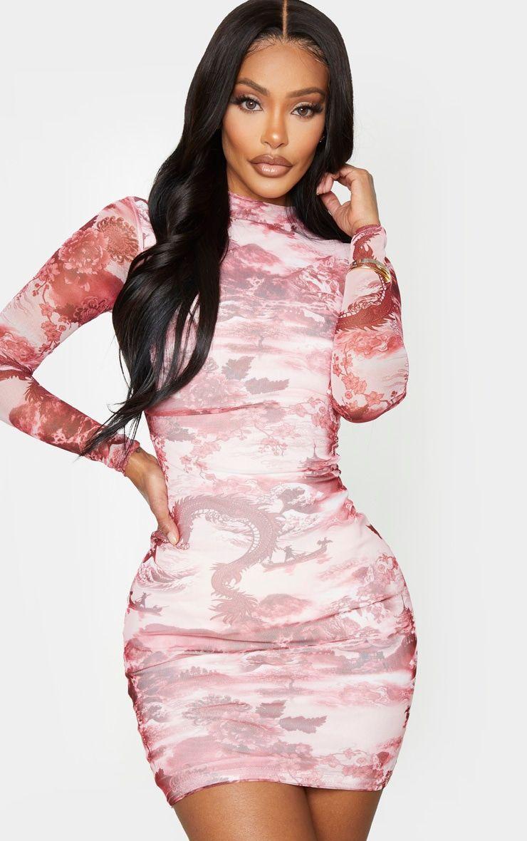 Pink Printed High Neck Mesh Bodycon Dress Mesh Bodycon Dress Tight Fitted Dresses Bodycon Dress [ 1180 x 740 Pixel ]