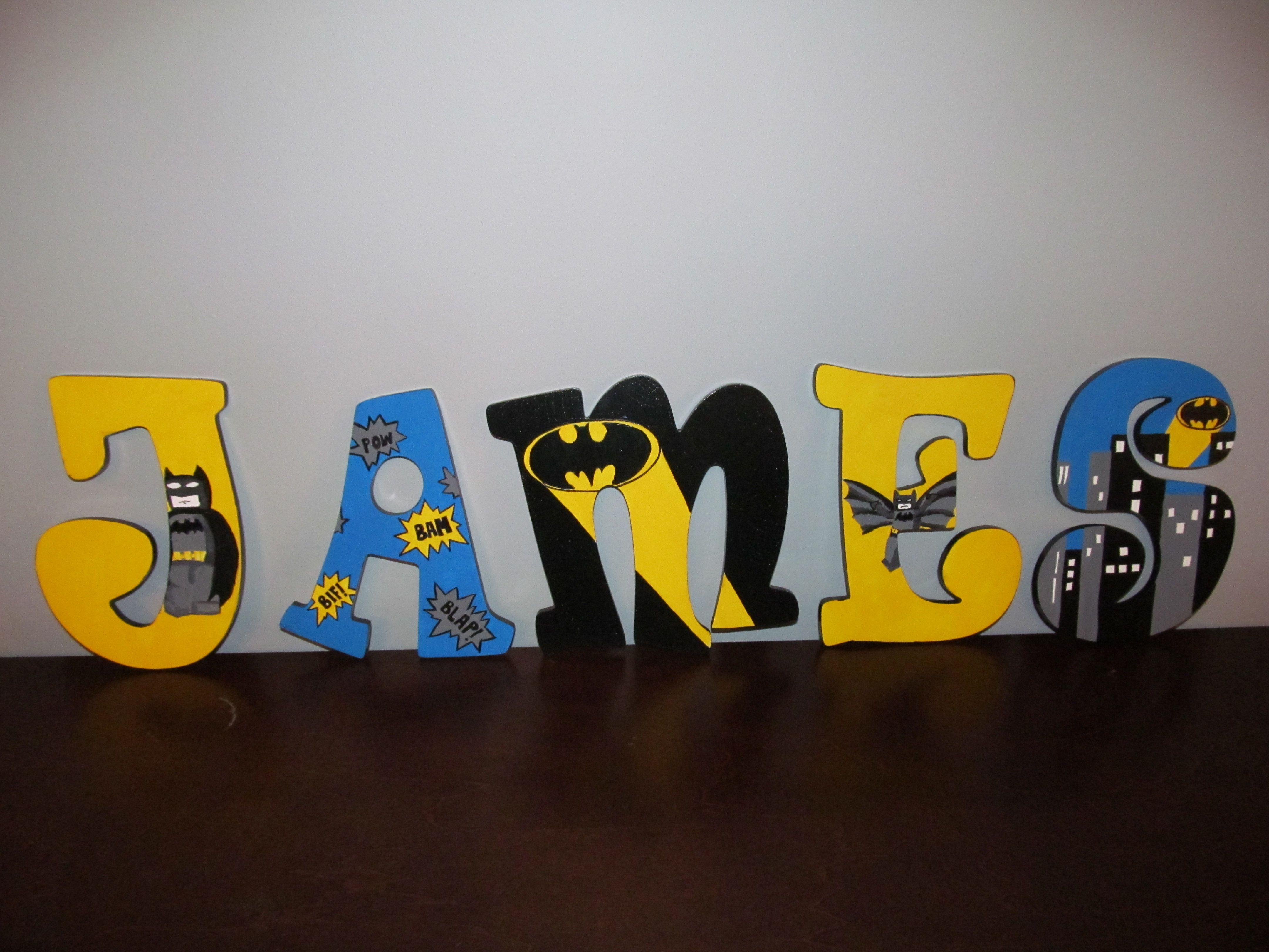 Name Letters Made With Lego Bricks Birthday Decor Shelf Decor Custom Brick Letter Sign Batman Inspired Kids Room Decor