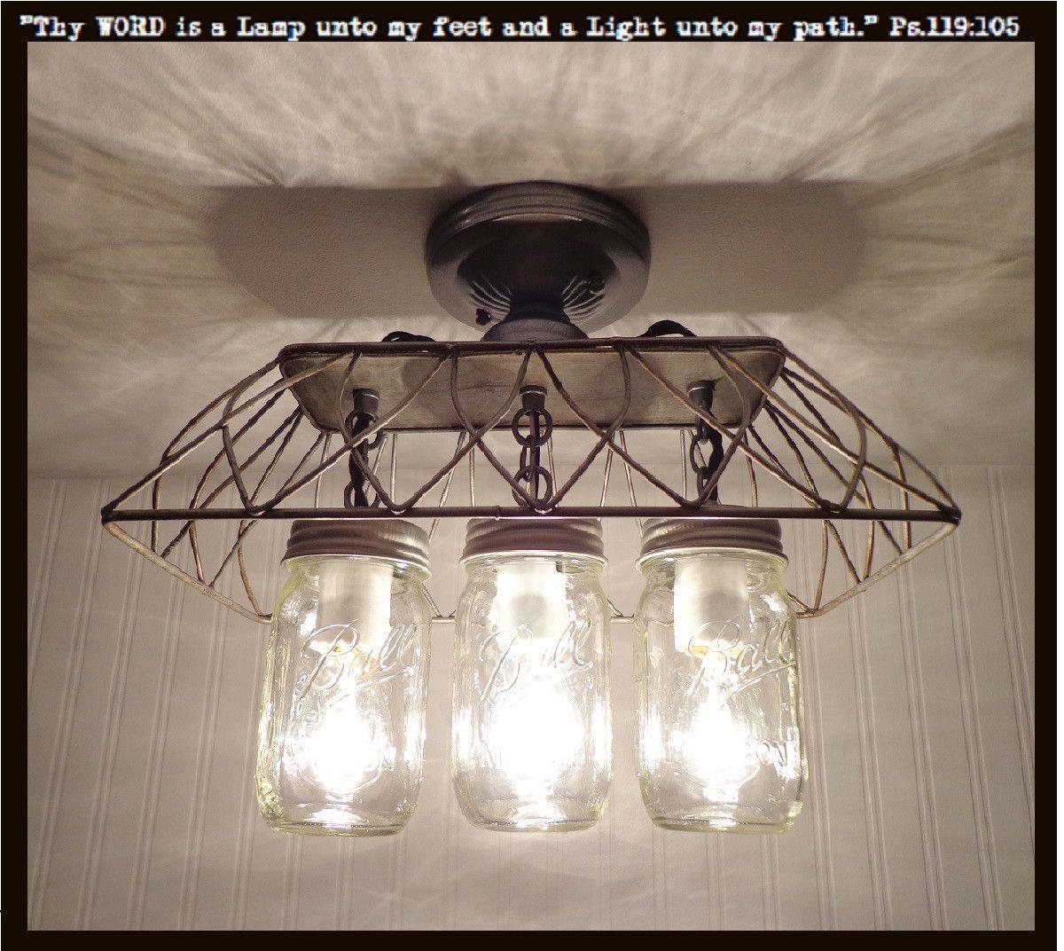 Mason Jar Flush Mount Light Part - 33: Mason Jar FLUSH MOUNT Ceiling Light 3-Lighting