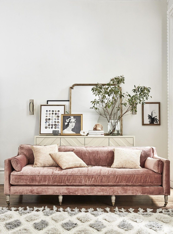 Parisian Inspired Living Room With Blush Velvet Sofa Styled By Kim Ficaro