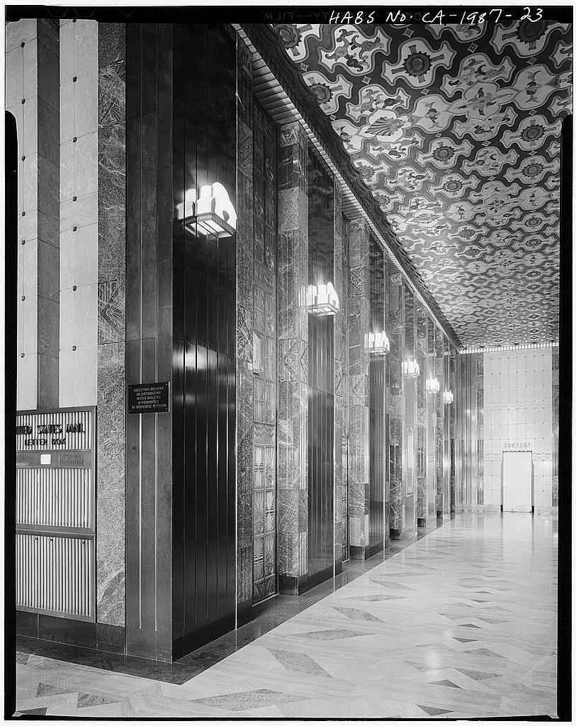 Atlantic richfield tower elevator lobby lift lobby luxurious