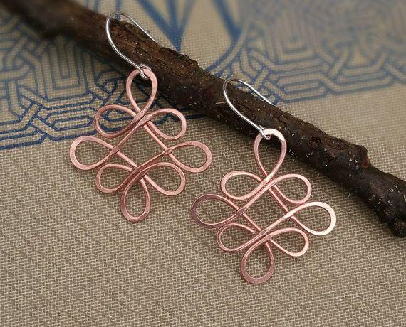 Looping Celtic Crossed Knots Copper Earrings, Celtic Jewelry, Celtic ...