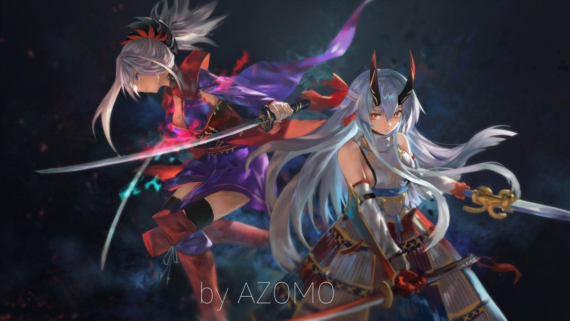 Fate Series Fate Grand Order Miyamoto Musashi Tomoe Gozen Fate Grand Order 1080p Wallpaper Hdwallpaper Desktop In 2020 Anime Miyamoto Musashi Anime Wallpaper