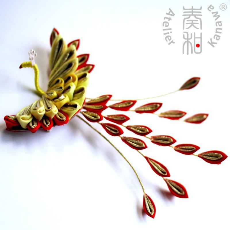 Revived Spirit - Phoenix Tsumami Kanzashi Brooch. $149,99, via Etsy.