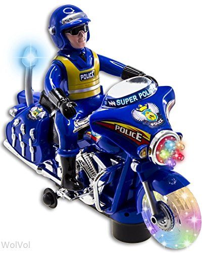 Wolvol Police Toy Motorcycle With Colorful Lights And Sirens