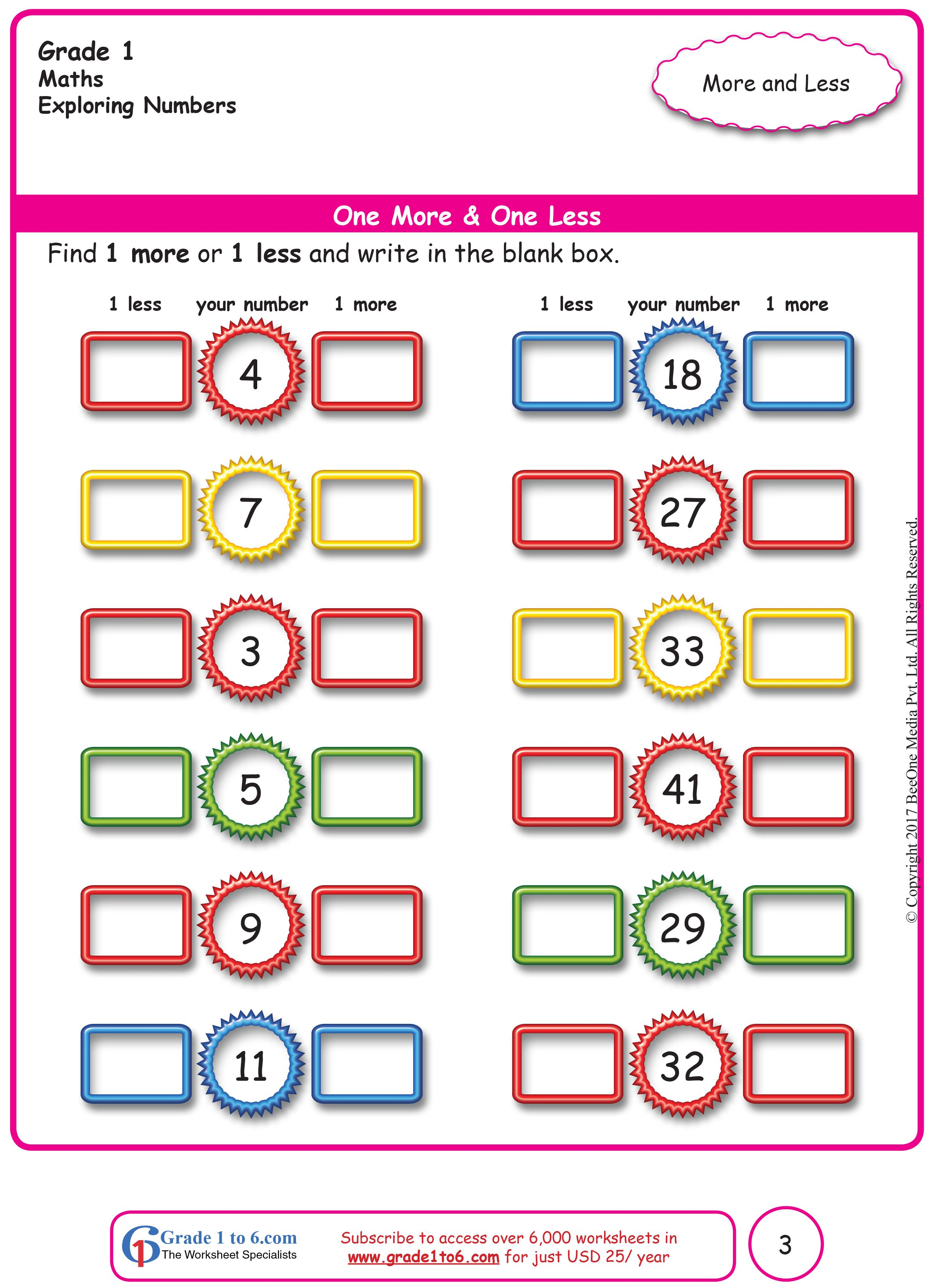 One More One Less Free Math Worksheets Basic Math Worksheets Math Worksheets Worksheets on addition for class 1