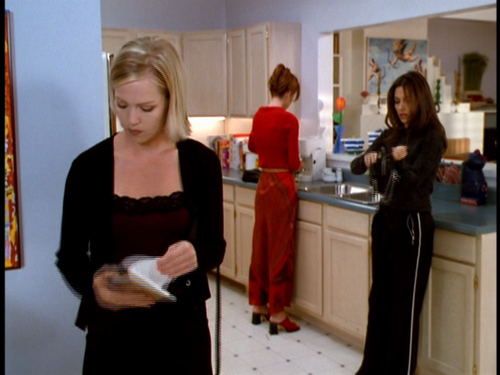 Nice red sweatsuit, Donna.