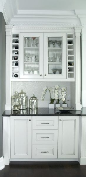 Built in bar pantry off the kitchen love the glass for Built in wine bar cabinets