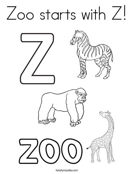 Zoo starts with Z Coloring Page - Twisty Noodle | Zoo ...