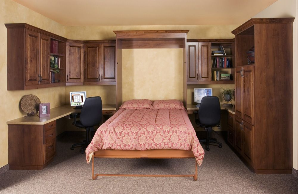 Classic Alder Wall Bed (Down) In Home Office By Classy Closets