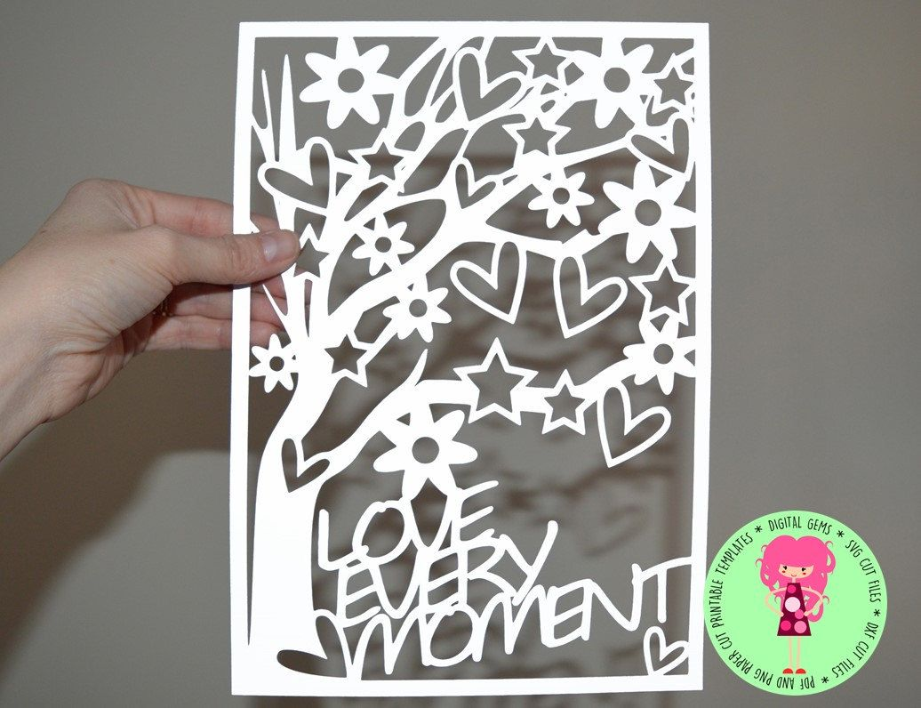 Love Every Moment Paper Cut Template, SVG / DXF Cutting File For ...