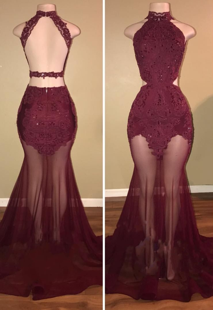 Gorgeous highneck sleeveless prom dress burgundy mermaid with