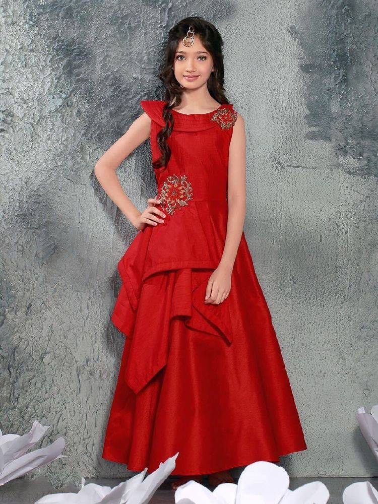 Red Color New Fancy Design Children Wear Gown Indian Designer Kids ...