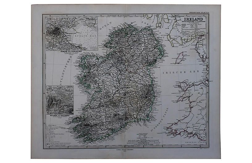 One Kings Lane Vintage Antique Map of Ireland in 2019 ...