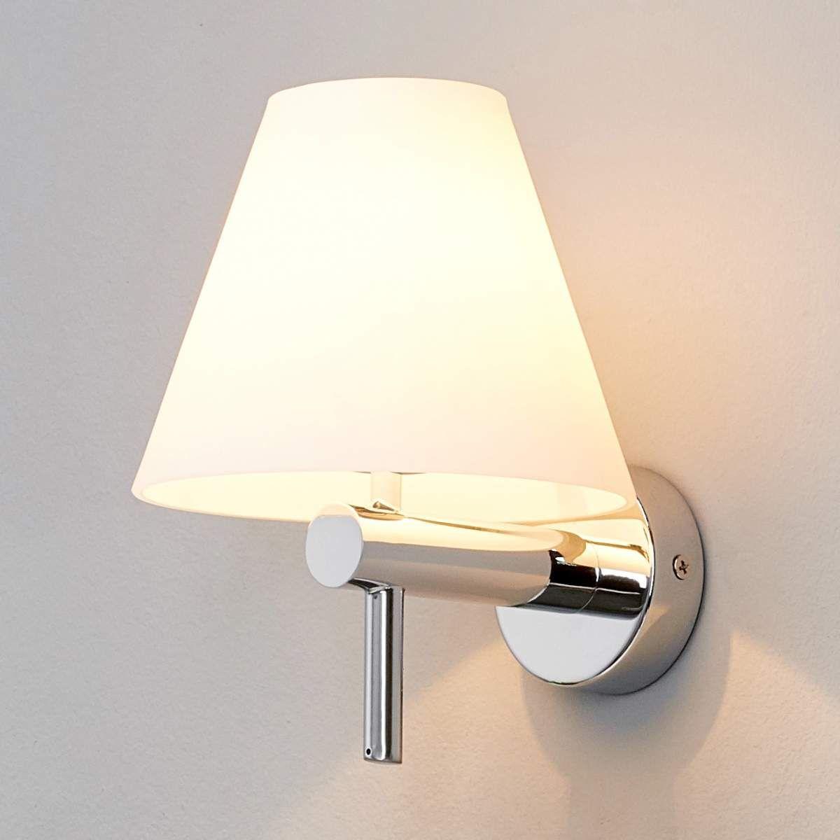 Wandleuchte Violetta Weiss Chrom Badezimmerlampe Glas