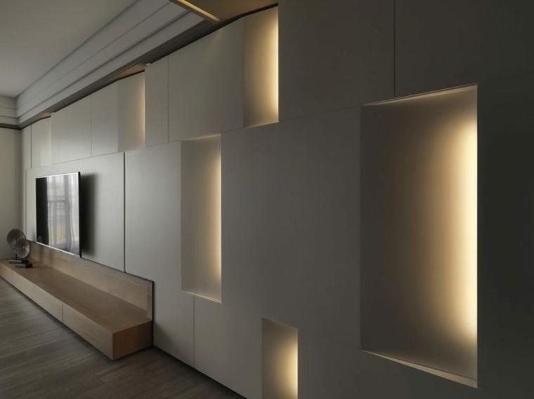 #Interior Design Haus 2018 Wände Mit Stein Und Indirekter Beleuchtung  Dekoriert #Innenarchitektur #Innen