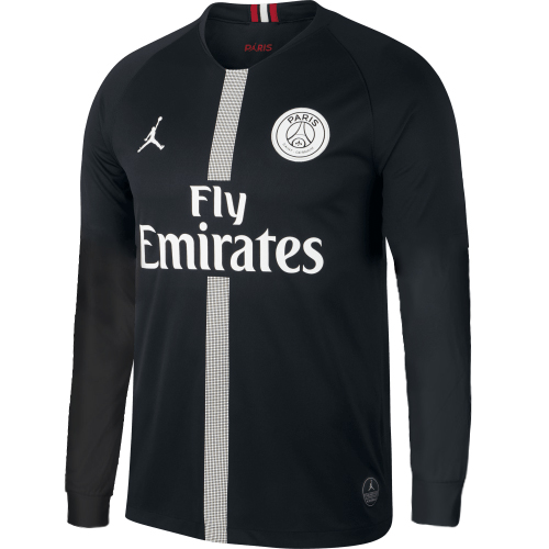 be90615c2f85 PSG 18 19 Champions League Black Men Long Sleeve Soccer Jersey Personalized  name and number