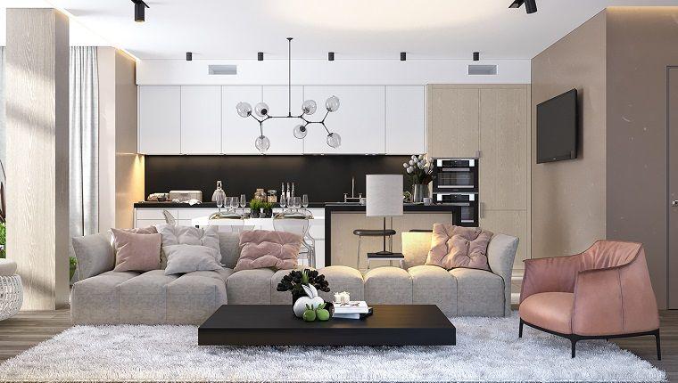 Pavimento Bianco Grigio : Open space con un divano grigio e poltrona rosa pavimento parquet