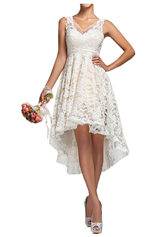 Wedding dresses for short women  Mella Womenus VNeck LaceWedding Reception Dress Short Wedding