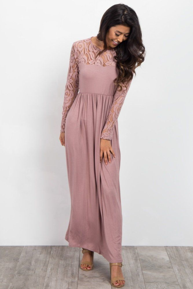 Burgundy Lace Sleeve Maxi Dress In 2019 Women S Clothing