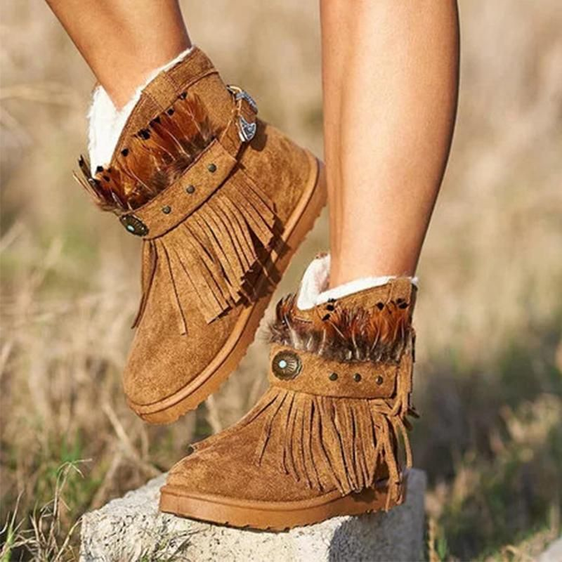 Womens Plus Size Tassels Boots Wedge Heel Lace Up Warm Moccasin Boots Faux Suede